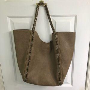 Handbags - Brown/tan colored bag with brass metal detailing